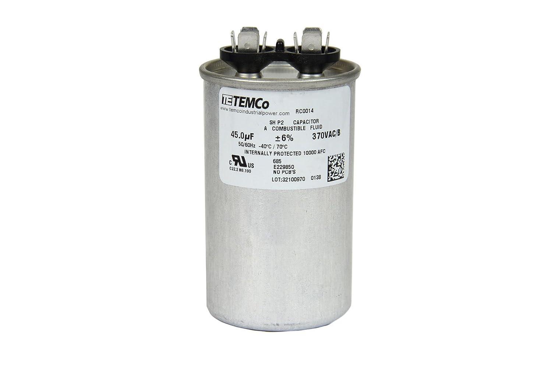 TEMCo Motor Run Capacitor RC0014-45 mfd 370 V VAC Volt 45 uf Round HVAC TEMCo AC Electric