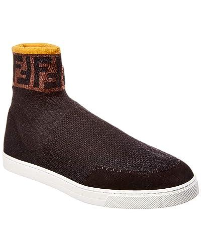 16607827c2f Amazon.com | Fendi Knit High-Top Sneaker, 7.5, Black | Fashion Sneakers