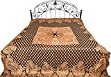 Reversible Jamawar Bedspread with Woven Bootis and Paisleys on Border - Modal - Color Chocolate Brown Color