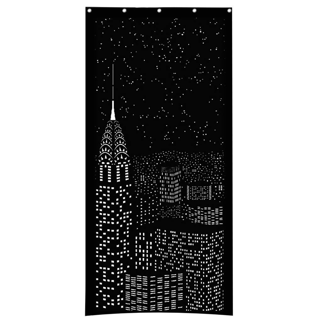 Euone Blackout HoleRoll Curtains with Holes Incredible City Designs Curtain Bedroom A