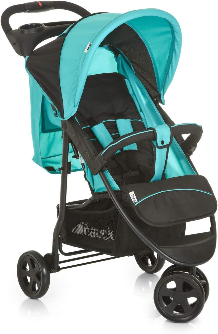 Hauck Citi Neo II - Silla de paseo de 3 ruedas, respaldo reclinable, plegado compacto, plegado con solo una mano, nacimiento hasta 25 kg, ultra ligero, solo 7,5 kg, bandeja con botellero, negro/azul