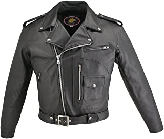 product image for HILLSIDE USA LEATHER INC. Men's D Pocket Horsehide Motorcycle Jacket