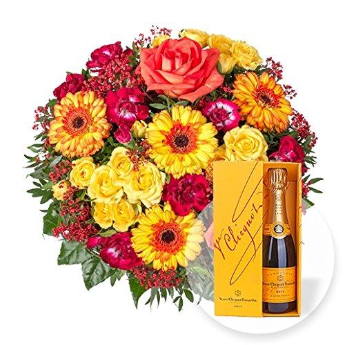 Blumenstrauß Sonnenschein und Champagner Veuve Clicquot