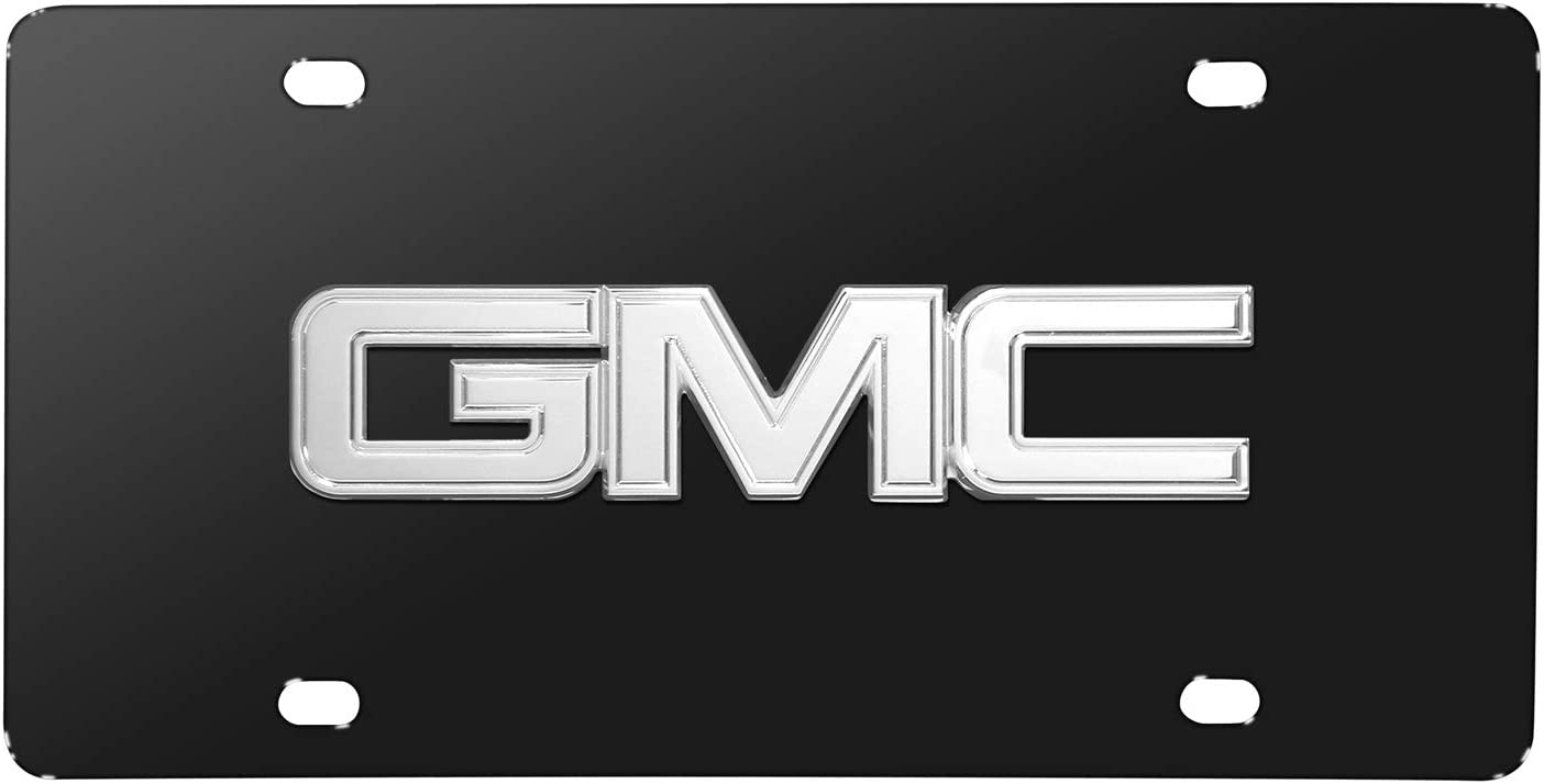 Made in USA GMC Chrome 3D Logo Black Stainless Steel License Plate