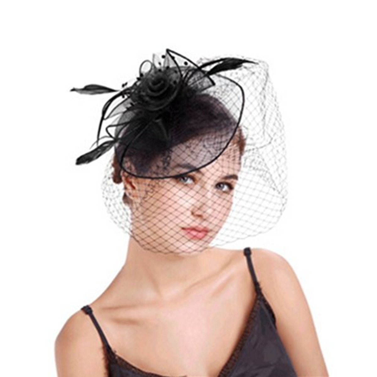 MITIN Fascinator Hat, Vintage Mesh Net Wedding Feather Fascinators Headband and Clip for Girls and Women Black