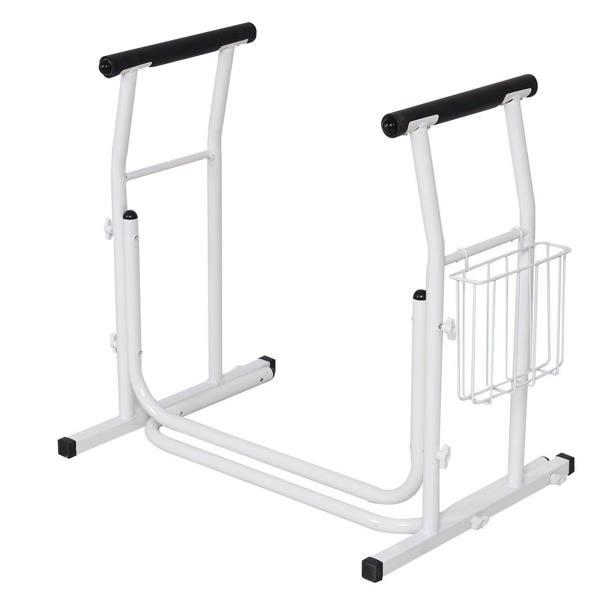 White Steel Toilet Safety Rail Medical Freestanding Stand Padded Armres w/Magazine Rack