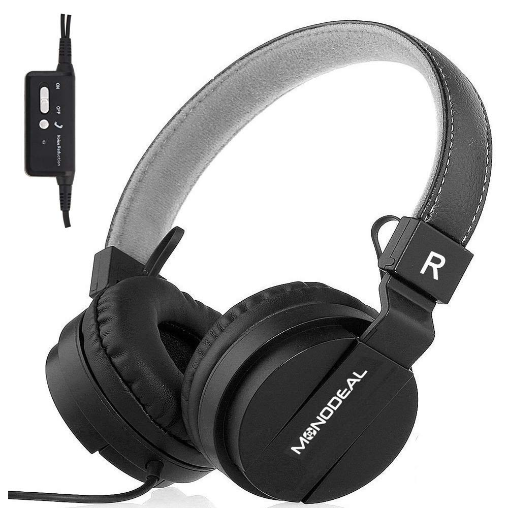 Monodeal Kids On Ear Headsets with Active Noise Cancelling, Children Girls Boys Teens Adults Foldable Adjustable Wired Headphones Compatible with iPad Cellphones Computer Tablet MP3/4 Study Airplane by MONODEAL