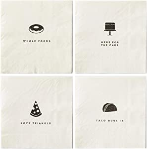Funny Foodie Themed Cocktail Napkins Variety Pack Includes 48 Napkins in 4 different designs
