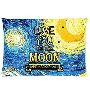 LarryToliver You deserve to have Plush cloth 20 X 30 inch pillowcase Popular Starry Night I Love You to the Moon Back best pillow cases(one side)