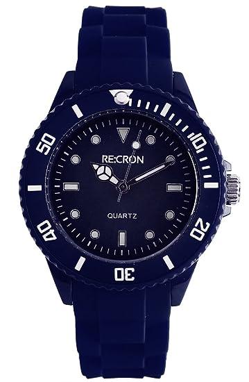RE:CRON cron-fr-navy1 - Reloj para mujeres, correa de silicona