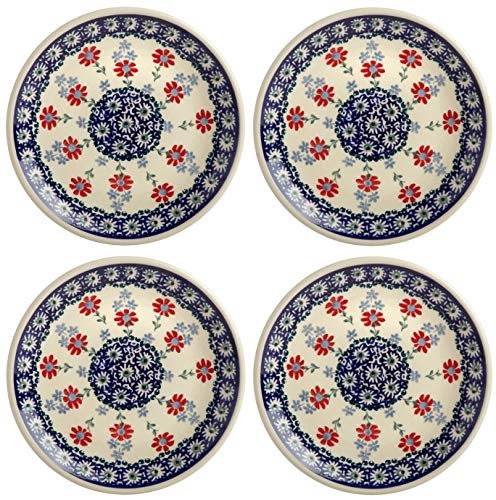 Polish Pottery Red Flowers with Light and Dark Blue Floral Chain, 7.25