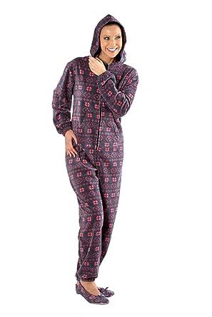 17d0196af6ee Selena Secrets Women s Stylish Soft Warm Fleece Onesie Pyjama Sleepsuit  (16-18) Fairisle