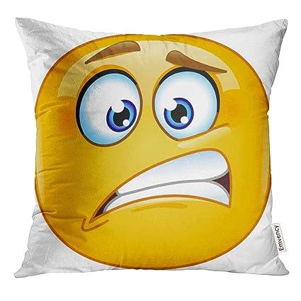 Amazon com: VANMI Throw Pillow Cover Emoji Oops Emoticon Nervous