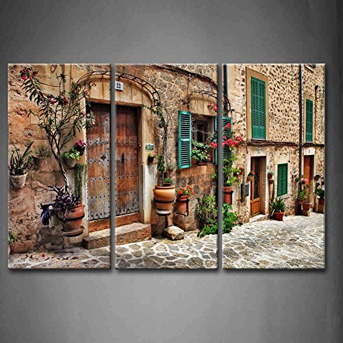 First Wall Art - 3 Panel Wall Art Streets Of Old Mediterranean Towns Flower Door Windows Painting The Picture Print On Canvas Architecture Pictures For Home Decor Decoration Gift piece (Stretched By Wooden Frame,Ready To (Mediterranean Decor Pictures)