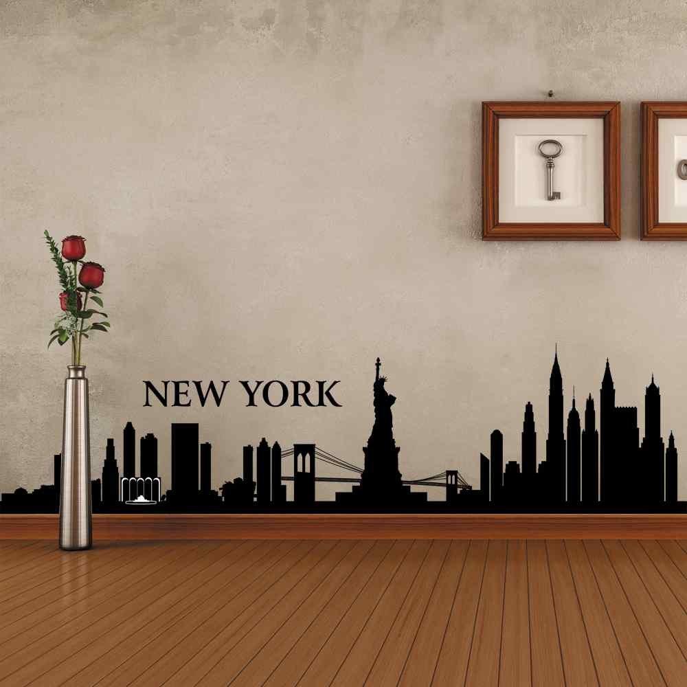 BATTOO New York Wall Decal City NYC Landmark Liberty Skyline Cityscape Travel Vacation Destination USA (22'' h x94 w,Custom) by BATTOO