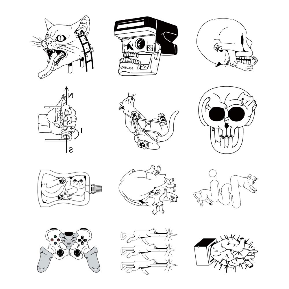 12 Creative Design Temporary Tattoos by Inktells-Updated 2020- fake tattoos for neck,back,hand and forearm  amimal tattoos include tiger,wolf,cat (2 sheets)