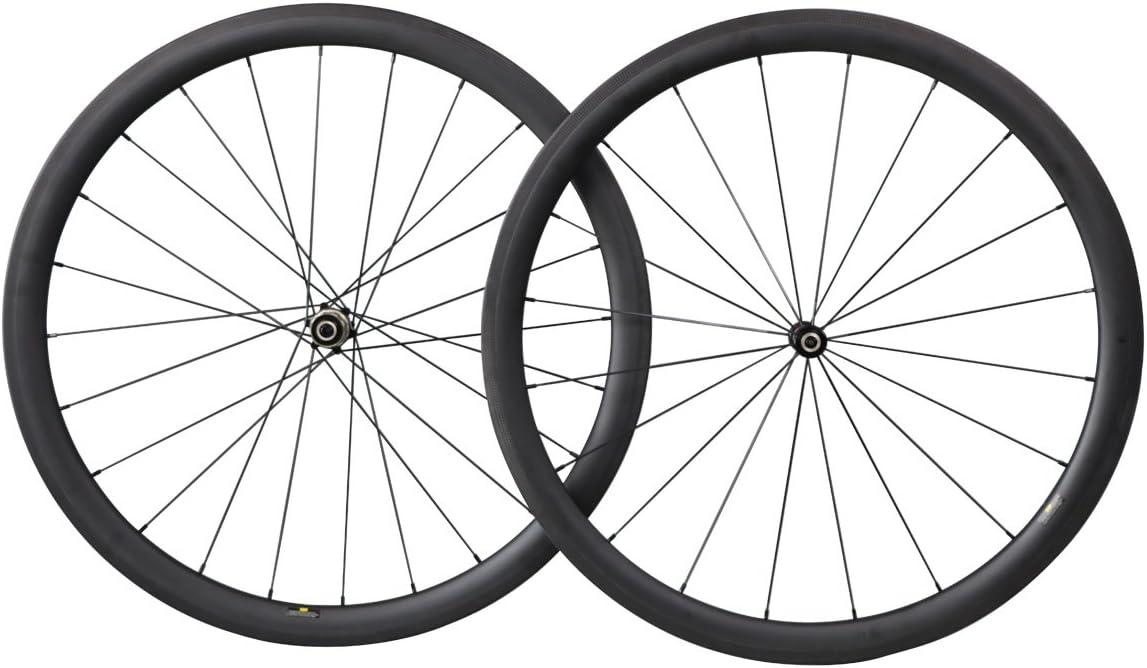 Triaero Juego de ruedas de carbono para bicicleta de carretera de 40/50/55 mm, sin cámara lista Novatec Hubs pilar radios