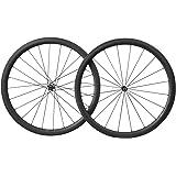700C Carbono Carretera Bicicleta Ruedas 40mm Ancho Clincher Tubeless Ready Novatec Buje