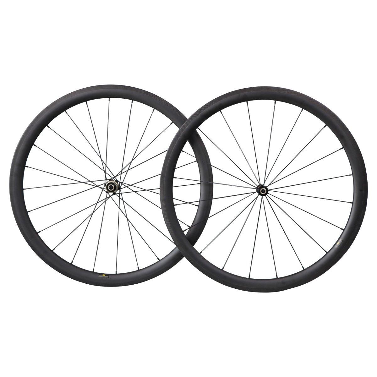 ICAN Ruedas de bicicleta de carretera ruedas de carbono 40mm Clincher Tubeless Ready Straight Pull Novatec Buje Shimano 10/11 Velocidad solamente 1505g: ...