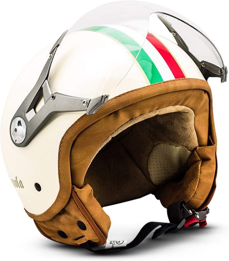 Soxon SP-325 - Casco Moto, ECE Certificado, con parasol y bolsa de casco, Multicolor/Imola, S (55-56cm)