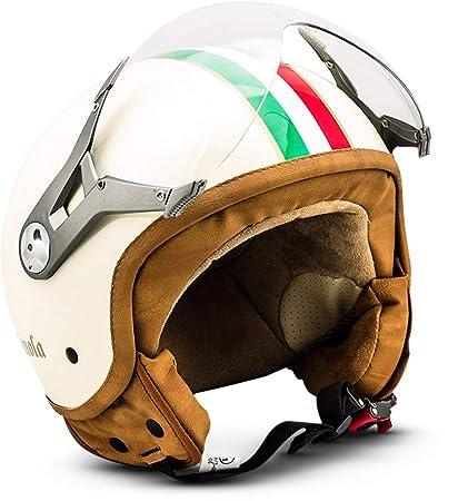 SOXON SP-325 - Casco Moto, ECE Certificado, con parasol y bolsa de casco, Beige (Imola), M (57-58cm)