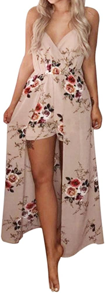 NOMUSING Womens Boho V Neck Print Romper Playsuit with Long Sleeveless Summer Flower Party Jumpsuit Beach Trousers
