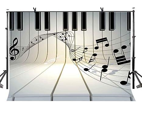 Joneaj 7x5ft Musica Tema Fondale Pianoforte Bianco E Nero Chiave