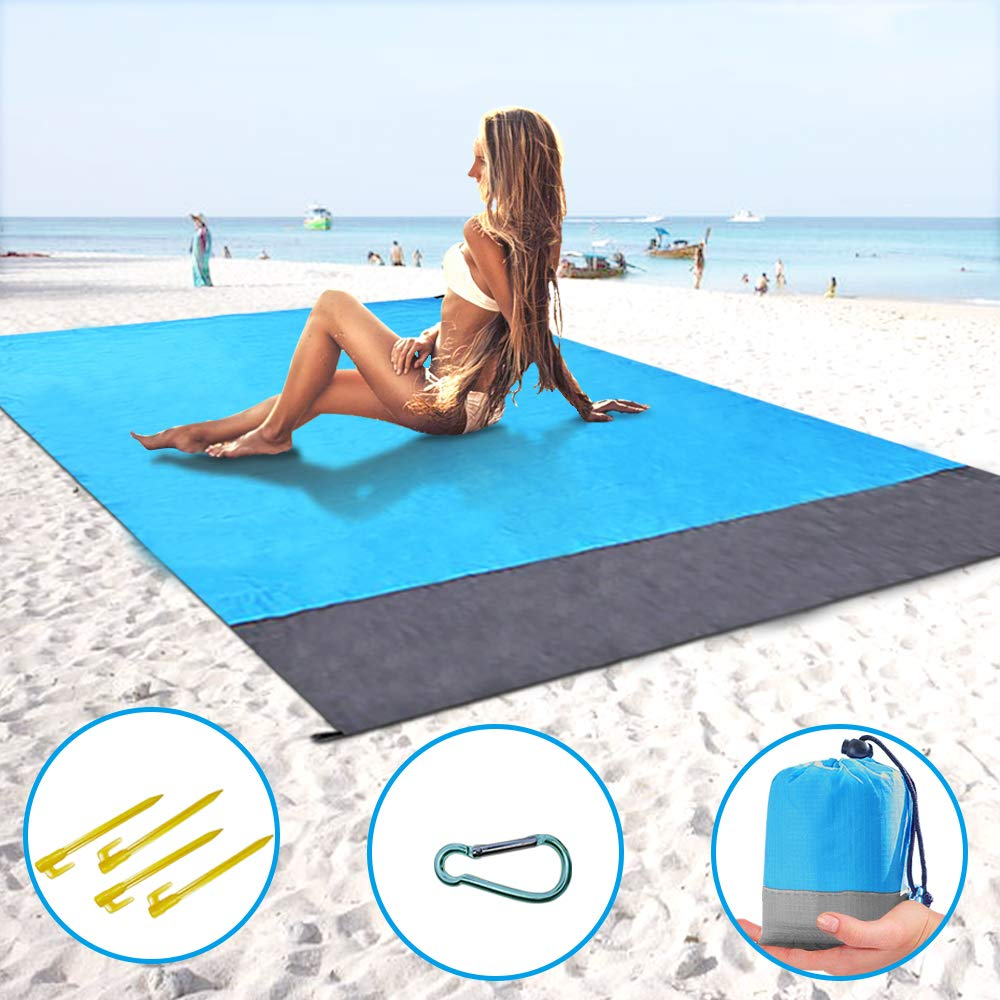 ThreeMay Sand Free Beach Blanket, 55″x78″ Compact Pocket Blanket - Extra Large SandProof Waterproof Ground Cover Picnic Mat for Beach,Travel, Hiking, Camping, Festival, Sports