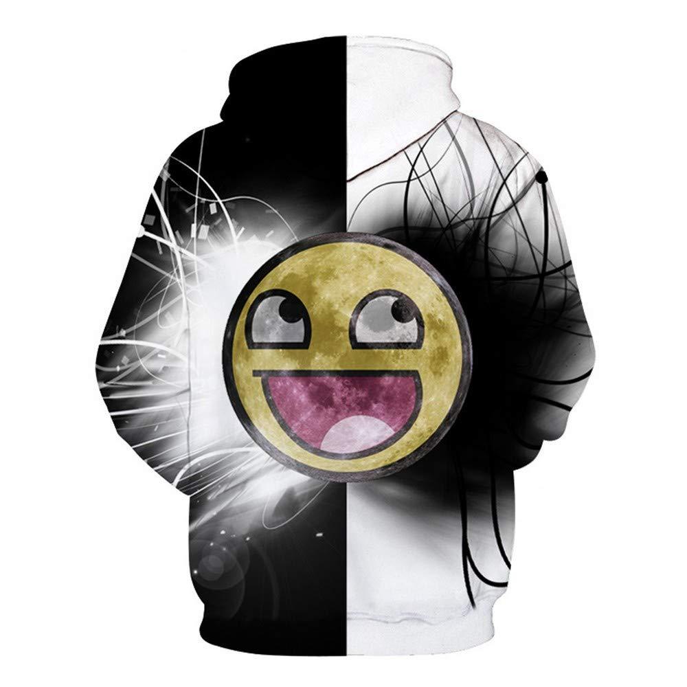 WHLWY Sudaderas con Capucha Impresión Digital 3D Caras Sonrientes Circulares Suéter con Capucha De Los Amantes: Amazon.es: Ropa y accesorios