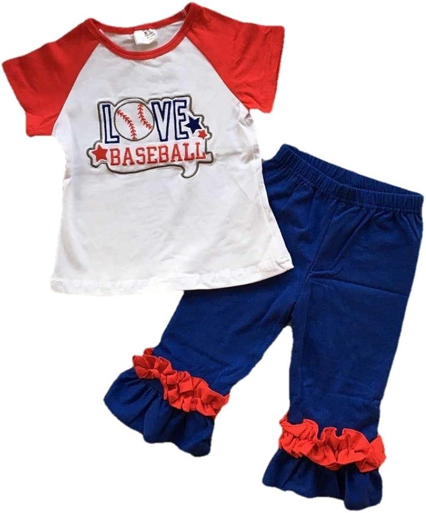 Girls Ruffle Boutique 2 pc Capri Baseball Outfit Set Red White Blue