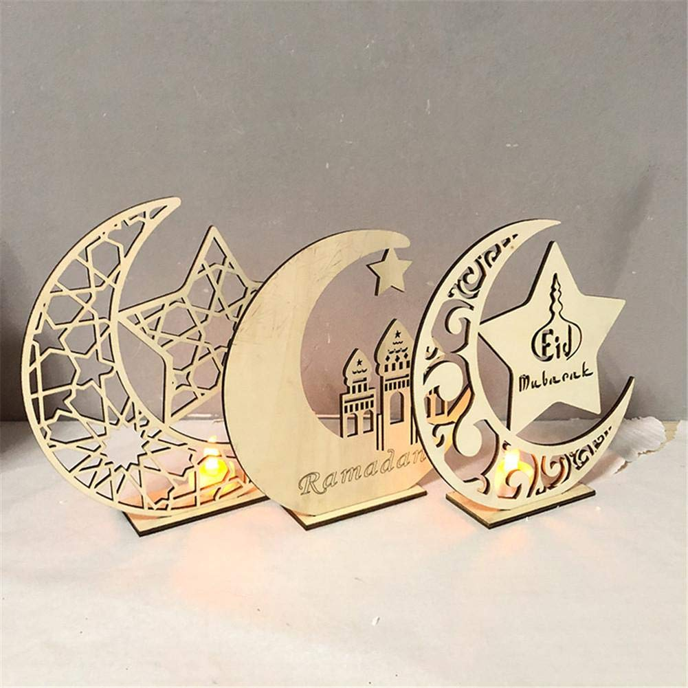 Jerome10Dan-HOME Ramadan Festival Handwerk Ornamente Anh/änger Dekoration Hohl Ornament Holz H/ängende Laterne
