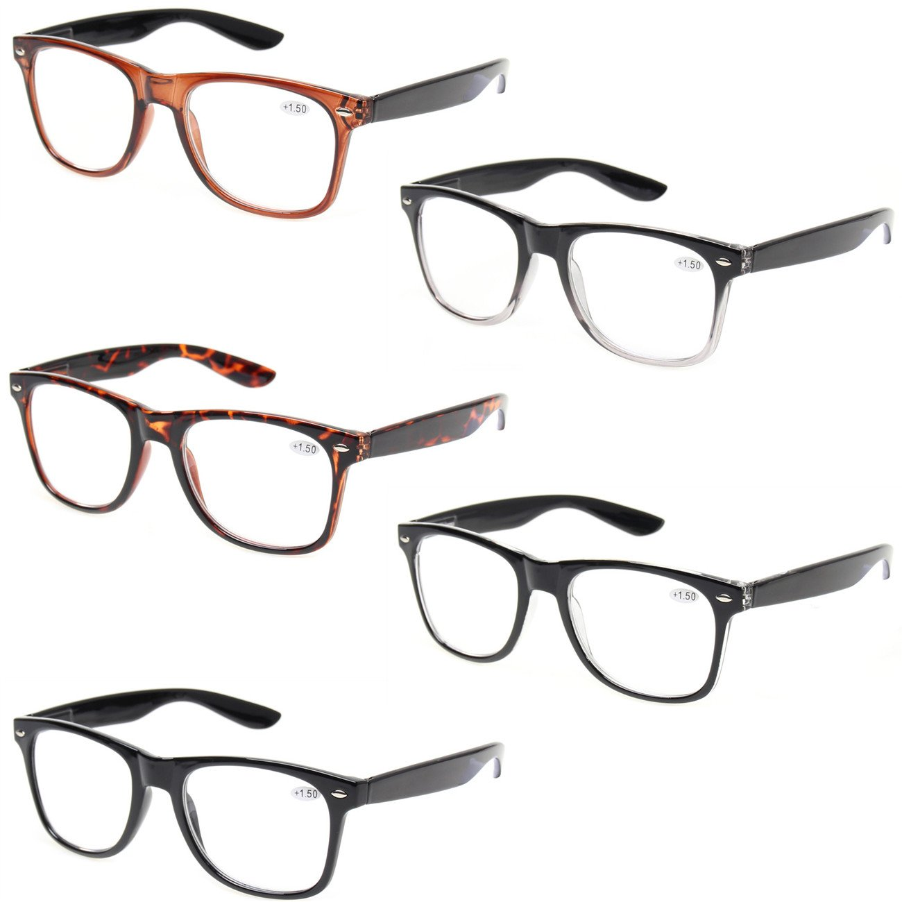 e23b60140a7 Reading Glasses 5 Pack Spring Hinge Large Frame Fashion Men and ...