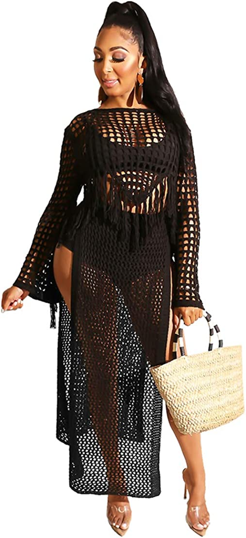 Women Sexy Long Sleeve Crochet Cover up See Through Crop Top High Split Beach Dress Set