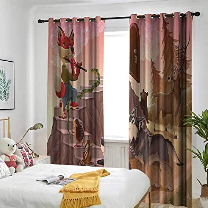 amazon com one1love animal grommet window curtain fairytale theme aone1love animal grommet window curtain fairytale theme a fox is playing the flute deer snake beer