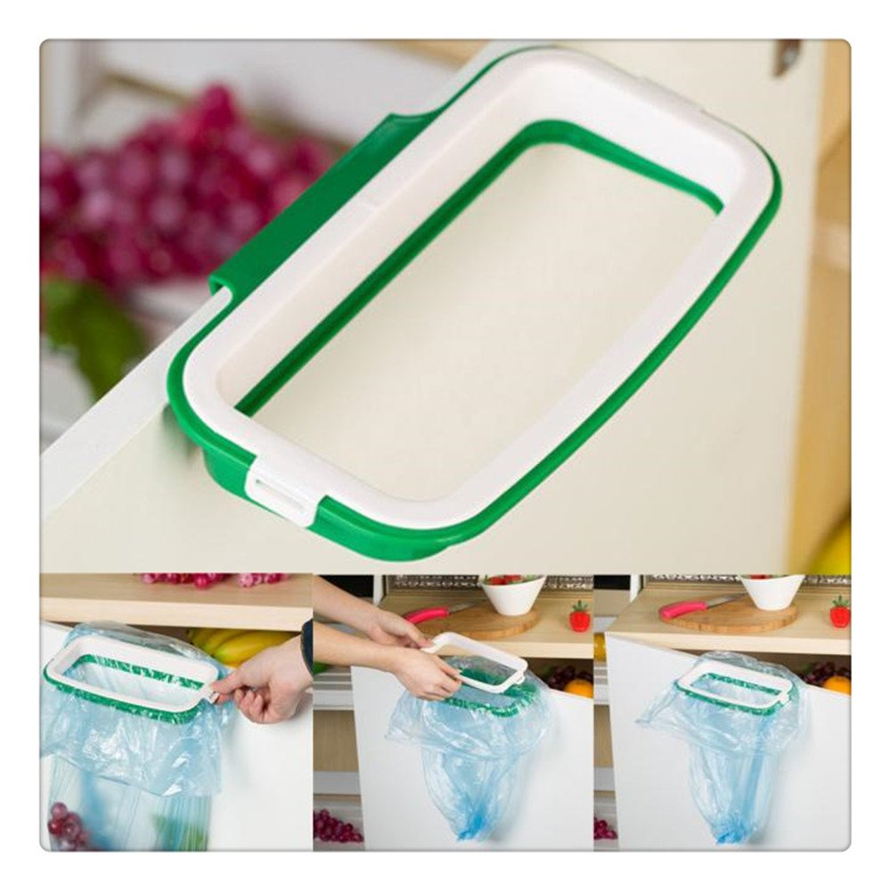 Buedvo Stand Trash, Kitchen Hanging Cupboard Cabinet Tailgate Stand Storage Garbage Bags Rack
