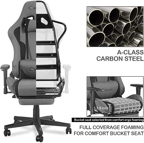 eclife Gaming Chair PC Ergonomic Racing Task Chair Gery Composite Linen Computer Desk Chair Recliner W/Massage Lumbar Support Headrest Armrest Rolling Swivel Office Chair