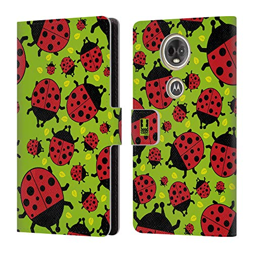 Head Case Designs Green Ladybug Bugged Life Leather Book Wallet Case Cover Compatible for Motorola Moto E5 Plus