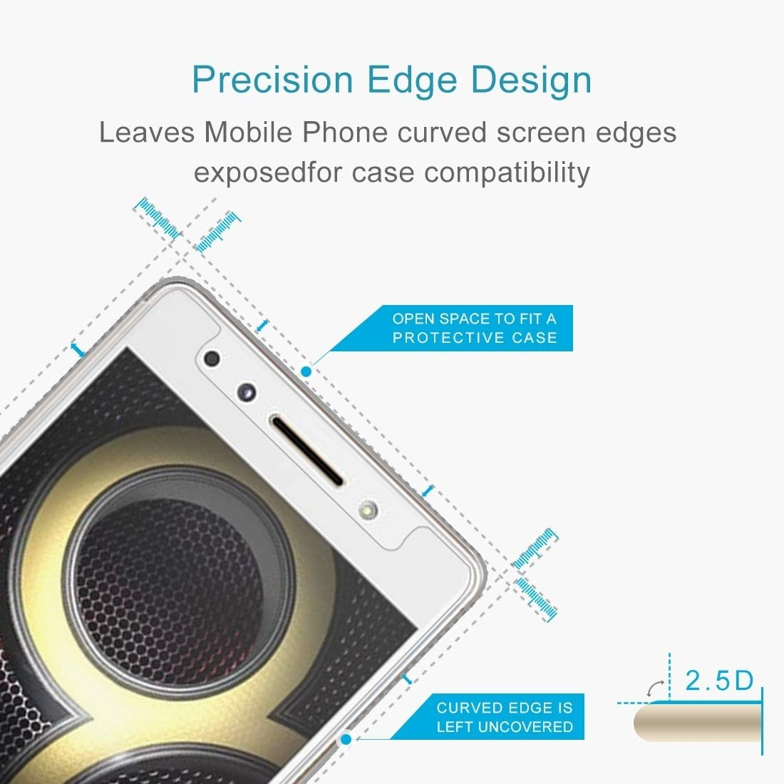 HAIJUN Phone Screen Film 100 PCS 0.26mm 9H 2.5D Tempered Glass Film for Lenovo K8 Note Anti-Scratch Tempered Glass