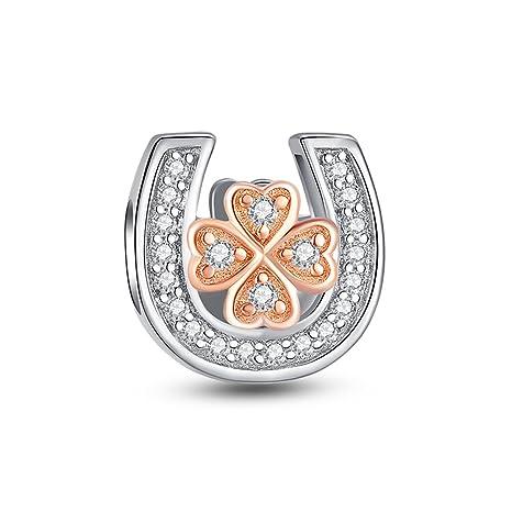 925 Sterling Glamulet de trébol de cuatro hojas en herradura de oro rosa para pulsera encanto