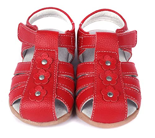 0a8488573ed14 Dream-Studio Comfort Soft Baby Sandals Toe Guard Cute Flower with Girls  Genuine Leather Solid