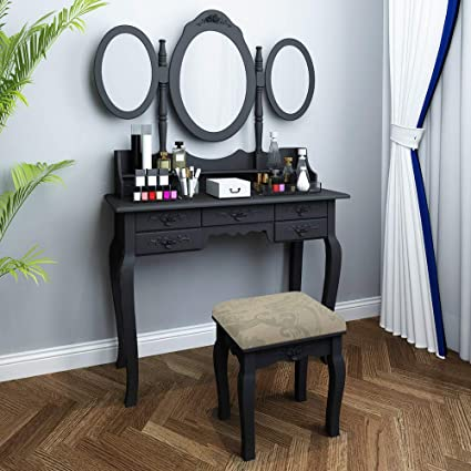 huisenus Black Makeup Dressing Table Set for Girls Modern Vanity Table with  7 Drawers and Tri-Foldable Mirror and Bench for Bedroom Living Room Gift ...