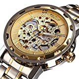 CALUXE BEST SELLING Luxury Golden Men Skeleton Mechanical Watch Stainless Steel Strap Must Have Classic Vintage Collection Timepiece