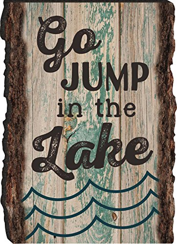 Go Jump In the Lake Waves Rustic Bark Look Wood Sign Magnet