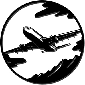 Plane Metal Wall Art Airplane Metal Wall Decor Black Wall Sculptures Modern Aerial Hanging Artwork Decorations for Office Home Living Room Easy to Hang on