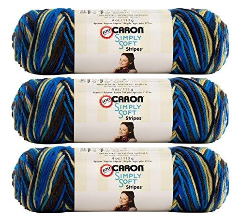 Caron (3 Pack Simply Soft Stripes 100% Acrylic Soft Churchill Downs Blue Brown Beige Yarn for Knitting Crocheting Medium #4