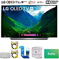 LG OLED77C8PUA 77 Class C8 OLED 4K HDR AI Smart TV 2018 Model (OLED77C8PUA) with Google Home Max, 2x 6ft HDMI Cable, Screen Cleaner for LED TVs, 6-Outlet Surge Adapter & 100 Hulu PLUS Gift Card