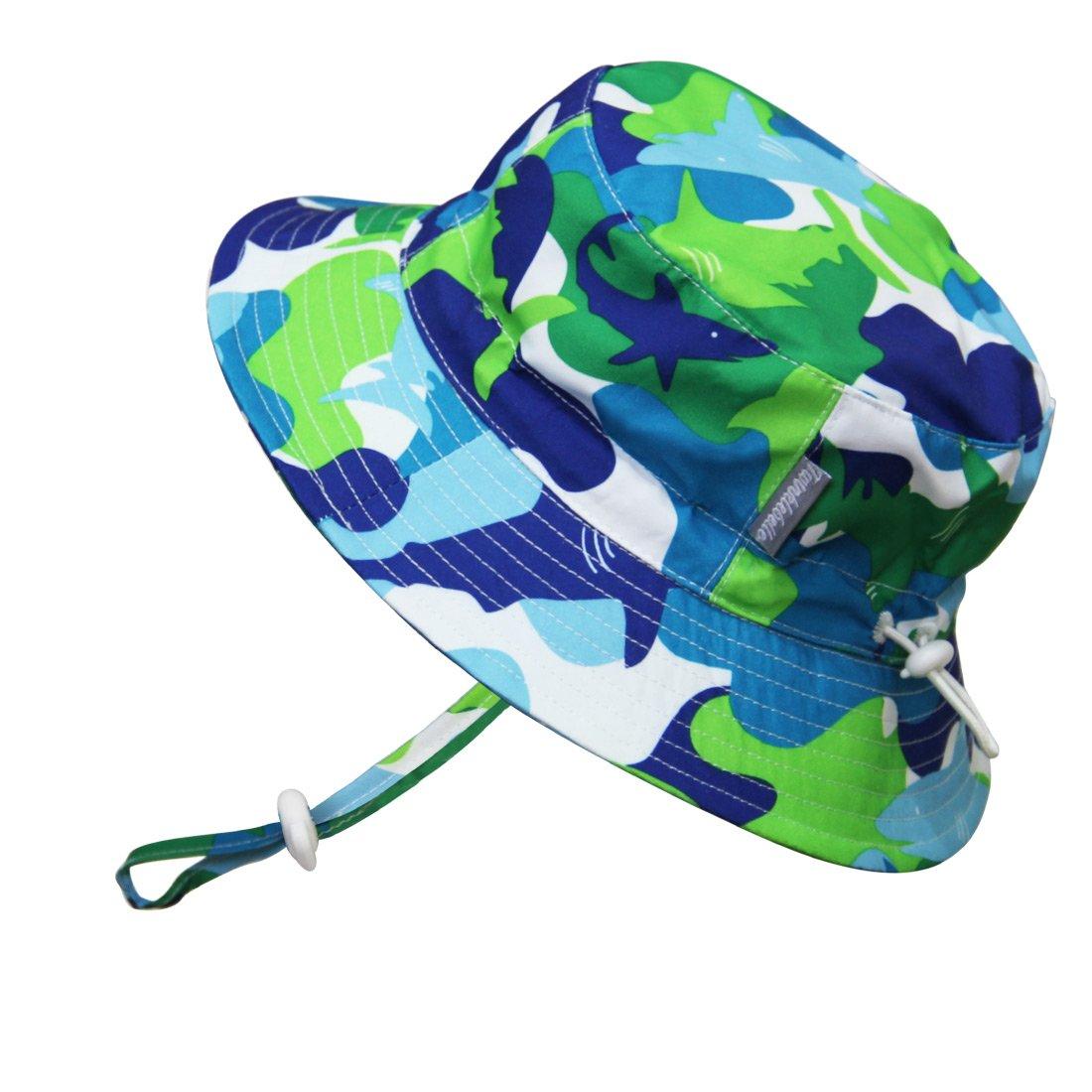 Kids 50 UPF Bucket Sun Hat, Size Adjustable Aqua Dry (XLarge: 3 - 12 Year, Blue Shark ) 14-53XL
