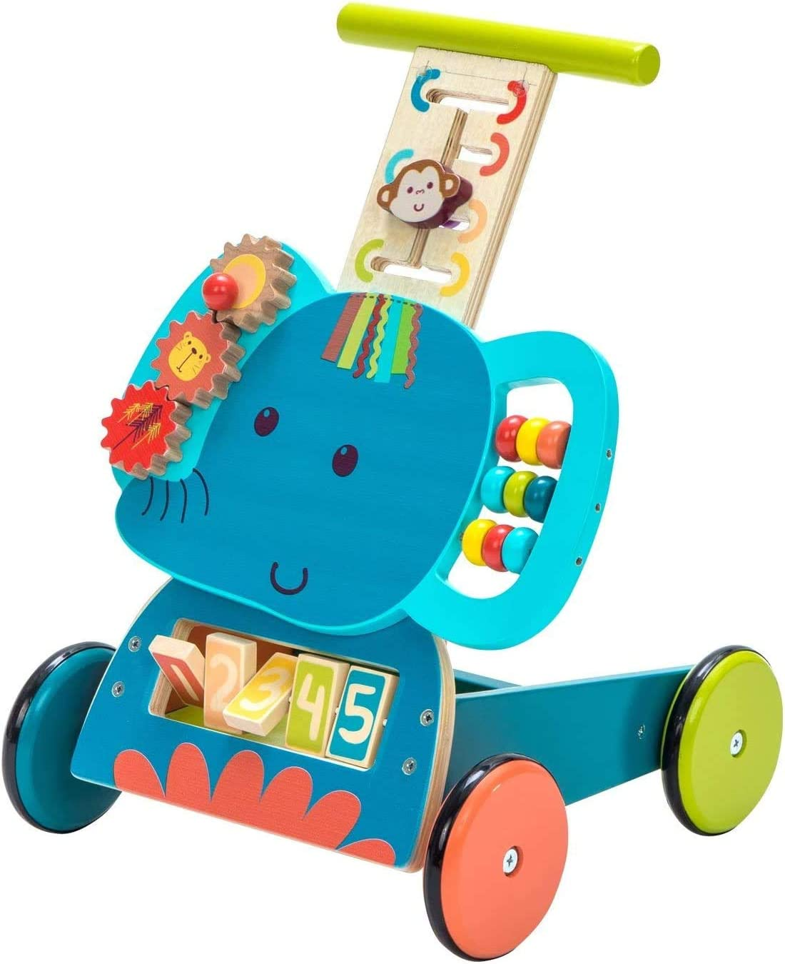 labebe Baby Lauflernwagen Holz Blau Elefant Lauflernhilfe 3 in 1 Push Pull Spielzeug Activity Babywalker Kinderwagen f/ür Kinder ab 1 Jahre