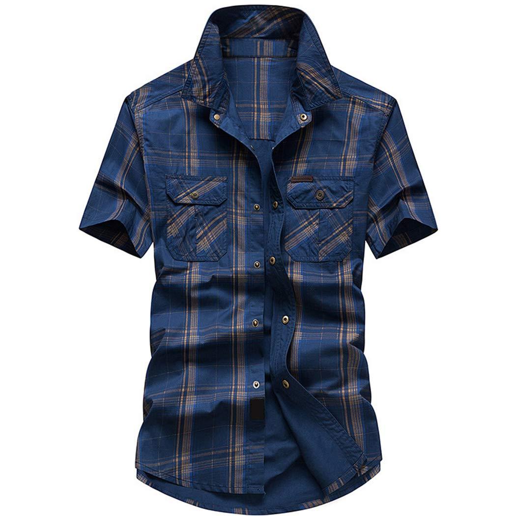Hixiaohe Mens Casual Cotton Gingham Plaid Short-Sleeve Button Down Shirt