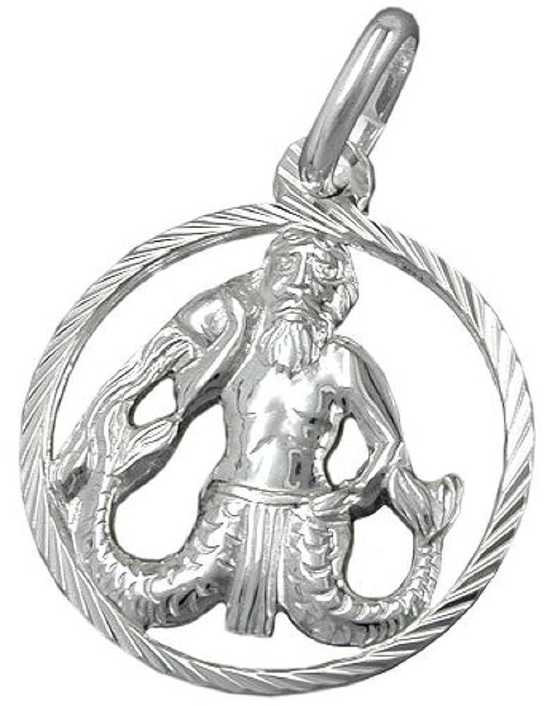 Unbespielt Kettenanhänger Silberanhänger für Halskette Unisex Anhänger Sternzeichen Wassermann 925 Silber 15 mm inkl. kleiner Schmuckbox 466G91002312
